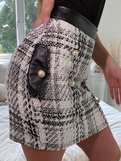 Ladies White Natural Waist Zipper Bodycon Eilly Bazar Pattern Flap Detail Double Breasted Skirt