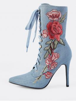 Glamorous Point Toe Floral Mid Calf No zipper Blue High Heel Stiletto Embroidered Denim Lace Up Booties DENIM