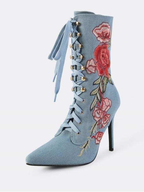 Discount Polyester Blue Combat Boots Embroidery Booties