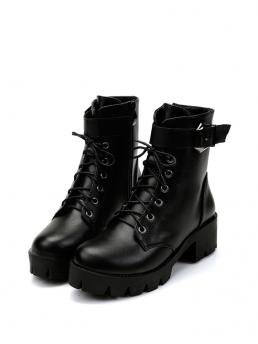 Women's Black Combat Boots Mid Heel Chunky Lace up Platform Boots
