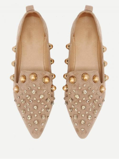 Corduroy Camel Loafers Tassel Faux Pearl Pointed Ballet Flats Affordable