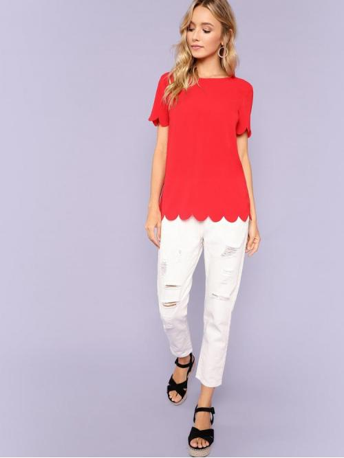 Short Sleeve Top Scallop Guipure Lace Top on Sale