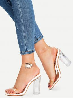 Ankle Strap Open Toe Ankle Strap White High Heel Chunky Ankle Strap Clear Design Heels