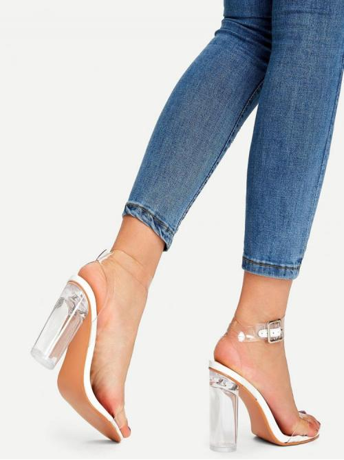 Corduroy White Mules Bow Ankle Clear Design Heels Clearance