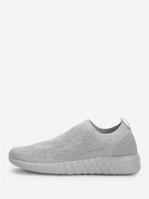 Corduroy Grey Slip on Studded Low Top Knit Sneakers Pretty
