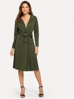 Casual Plain Straight Loose Notched Long Sleeve Natural Army Green Midi Length Self Tie Collar Solid Dress with Belt