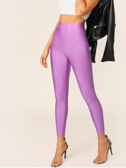 Casual Regular Plain Purple and Pastel Cropped Length Buttoned Waist Silky Leggings