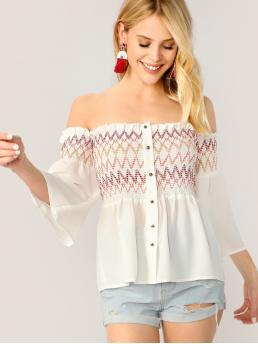 Boho Chevron Peplum Regular Fit Off the Shoulder Three Quarter Length Sleeve Pullovers White Regular Length Embroidered Button Detail Smocked Off Shoulder Top