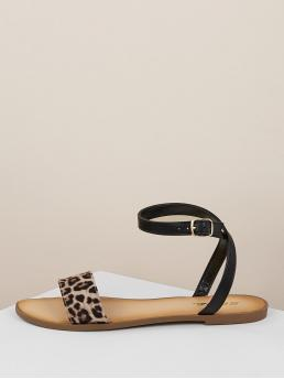 Comfort Open Toe Leopard Ankle Strap Multicolor Cheetah Band Buckled Ankle Wrap Flat Sandals