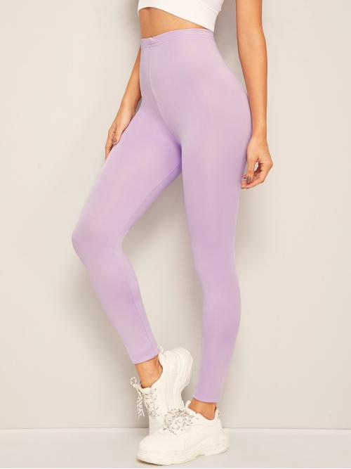 Casual Plain Purple Cropped Length Solid High Waist Skinny Leggings