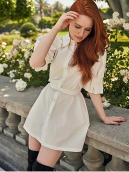Casual Shirt Plain Straight Loose Collar Half Sleeve Natural White Short Length x Madelaine Frill Trim D-ring Belted Puff Sleeve Shirt Dress with Belt