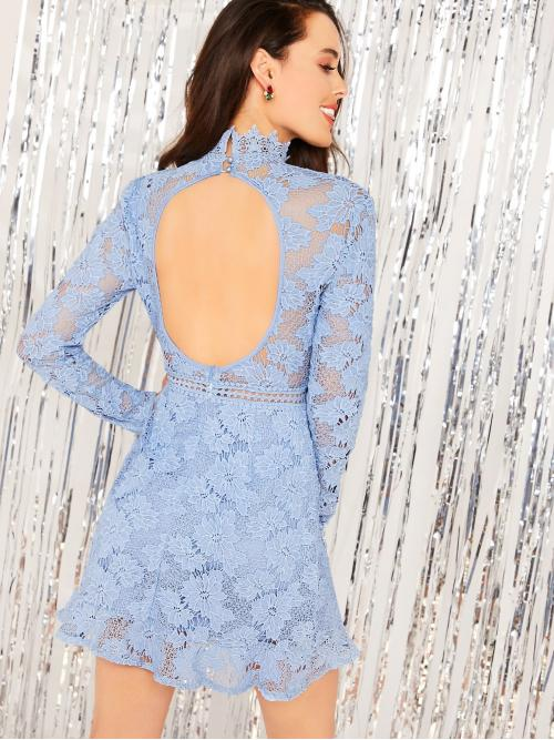 Romantic Fitted Plain Sheath Flounce Stand Collar Long Sleeve Regular Sleeve High Waist Blue and Pastel Short Length Mock Neck Backless Guipure Lace Overlay Dress with Lining