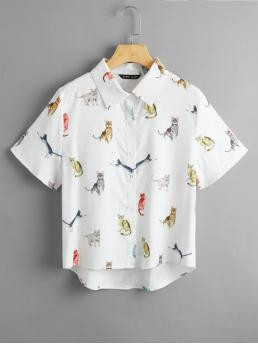 Shopping Short Sleeve Shirt Button Front Polyester Cat Graphic Button through Blouse