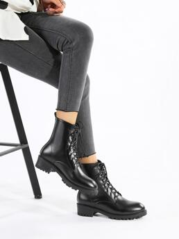Black Pu Leather Rubber Pu Leather Minimalist Front Boots Affordable