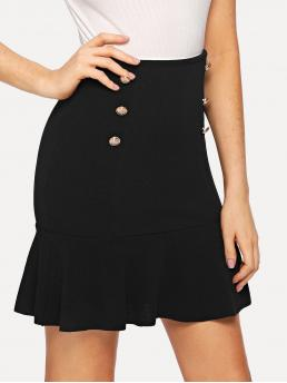 Elegant Straight Plain Mid Waist Black Above Knee/Short Length Double Button Flared Skirt