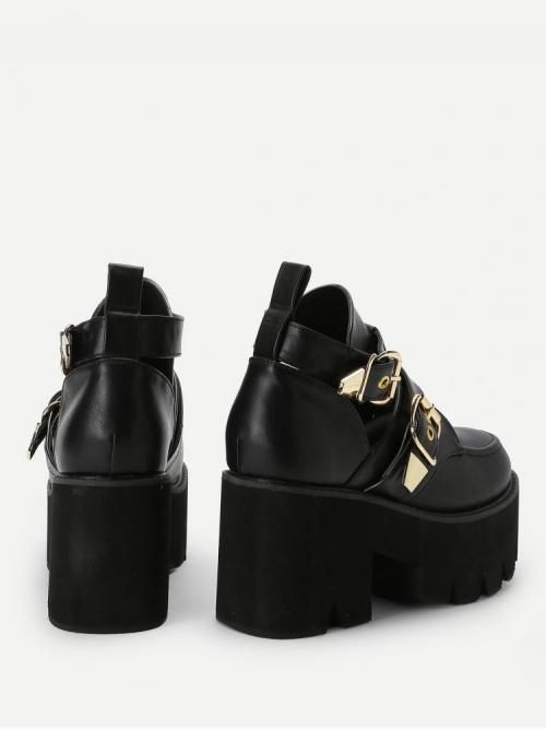 Discount Corduroy Black Flatfrom Shoes Buckle Decorated Wedges
