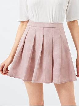 Beautiful Pink Natural Waist Pleated Pleated Solid