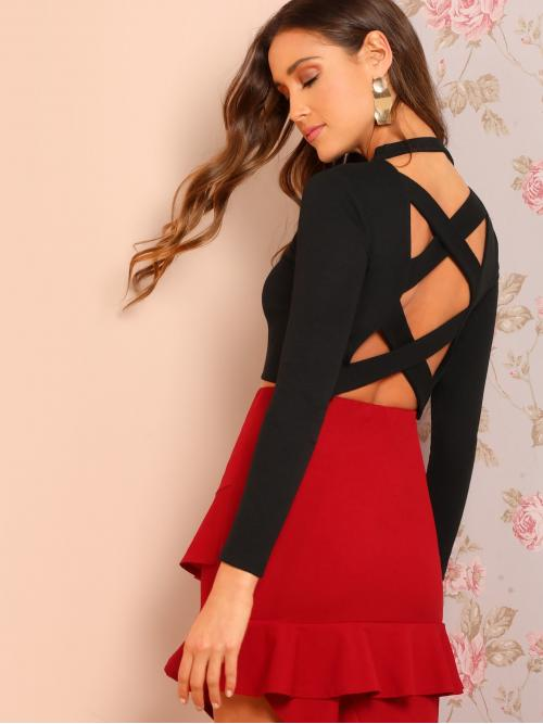Sexy Plain Slim Fit Stand Collar Long Sleeve Pullovers Black Crop Length Criss Cross Back Crop Tee
