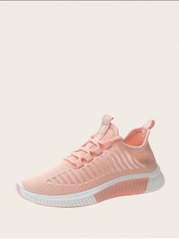 Comfort Round Toe Pink Lace-up Front Knit Sneakers