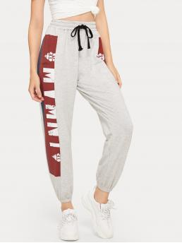 Sporty Letter Sweatpant Regular Drawstring Waist Mid Waist Multicolor Cropped Length Graphic Print Drawstring Waist Pants