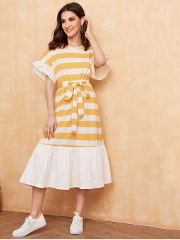 Casual Tee Striped and Colorblock Flounce Loose Round Neck Short Sleeve Flounce Sleeve Natural Multicolor Long Length Ruffle Cuff Self Belted Striped Dress with Belt