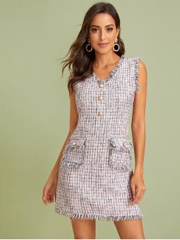 Elegant Fitted Plaid Straight Slim Fit V neck Sleeveless Natural Multicolor Short Length Pearls Button Dual Pocket Raw Trim Tweed Dress