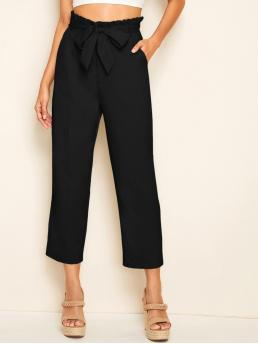 Casual Plain Straight Leg Regular High Waist Black Cropped Length Solid Paperbag Waist Belted Straight Pants with Belt