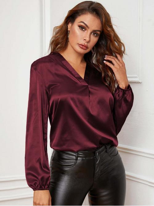 Glamorous Plain Top Regular Fit V neck Long Sleeve Bishop Sleeve Pullovers Burgundy Regular Length V-neck Lantern Sleeve Satin Blouse