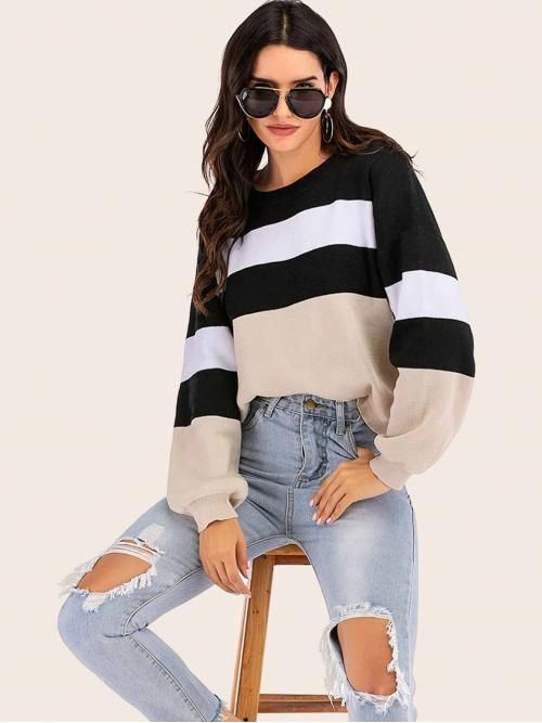 Casual Colorblock Pullovers Oversized Round Neck Long Sleeve Regular Sleeve Pullovers Multicolor Regular Length Cut And Sew Drop Shoulder Sweater