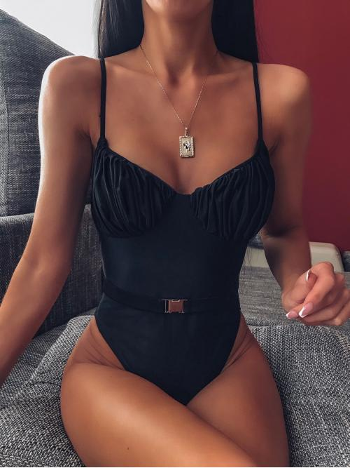 Sexy Plain Wireless Spaghetti Strap Black Ruched Bust One Piece Swimsuit With Belt with Lining