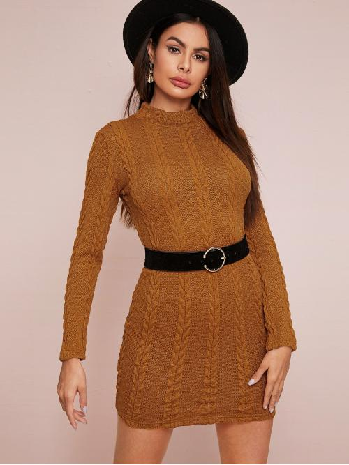 Elegant Bodycon Plain Pencil Slim Fit Stand Collar Long Sleeve Regular Sleeve Natural Camel Short Length Stand Collar Cable Knit Bodycon Dress Without Belt