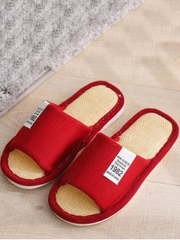 Slippers Letter Orange Open Toe Letter Patch Slippers