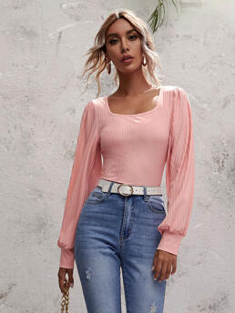 Clearance Long Sleeve Cotton Plain Coral Pink Tee