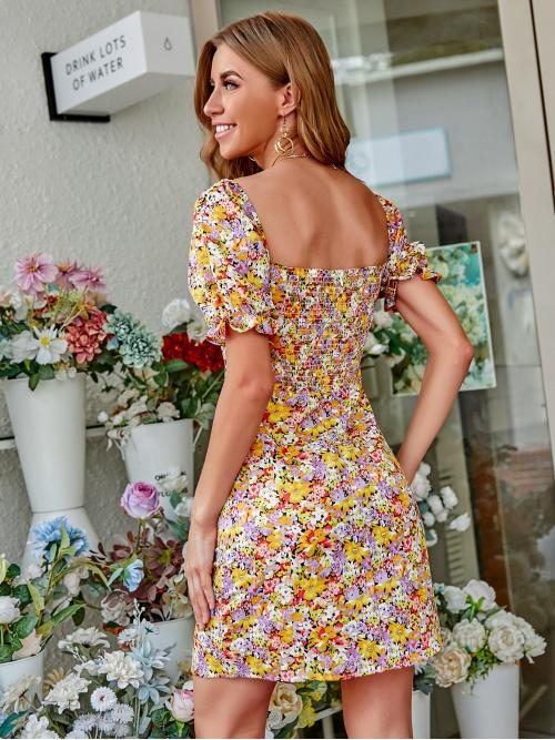Shopping Multicolor all over Print Shirred Sweetheart Allover Back Dress