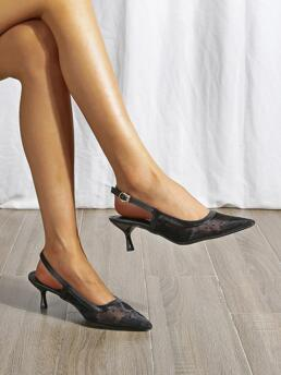 Black Mesh Rubber Pu Leather Polka Dot Pattern Pointed Toe Pyramid Heeled Slingback Pumps Affordable