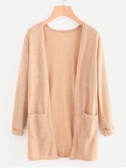 Casual Cardigan Plain Regular Fit Long Sleeve Nude Longline Length Open Front Sweater With Pockets