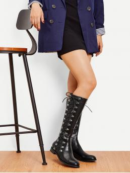 Lace-up Boots Almond Toe Plain Side zipper Black Low Heel Chunky Lace-up Side Knee High Boots