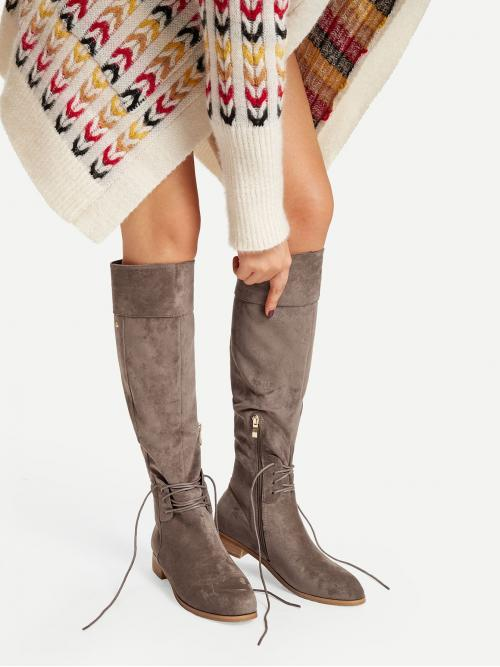 Tweed Coffee Brown Bodycon Raw Hem Lace-up Detail Knee High Boots Affordable