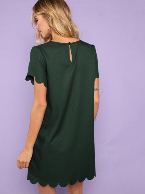 Green Plain Scallop Round Neck Trim Button Keyhole Solid Dress Clearance