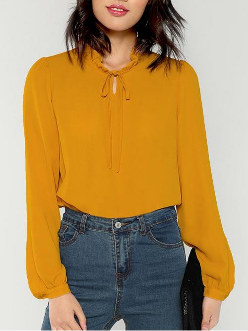 Beautiful Long Sleeve Top Frill Polyester Trim Tie Neck Blouse