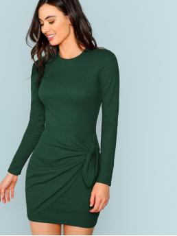 Women's Army Green Plain Rib-knit Round Neck Knotted Wrap Front Ribbed Dress