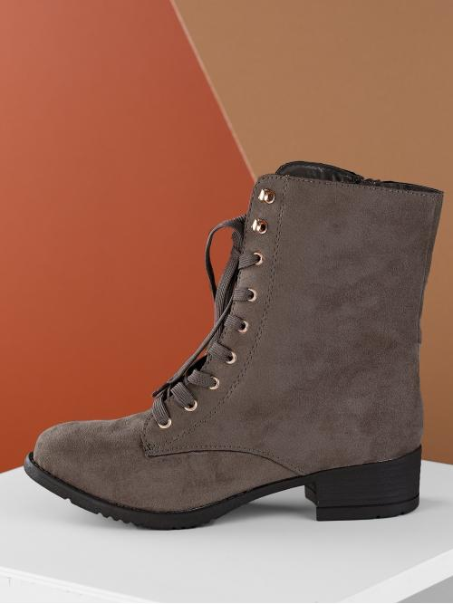 Lace-up Boots Round Toe Side zipper Low
