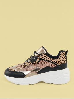 Comfort Round Toe Leopard Multicolor Mid Heel Mesh And Leopard Detail Lace Up Dad Sneakers