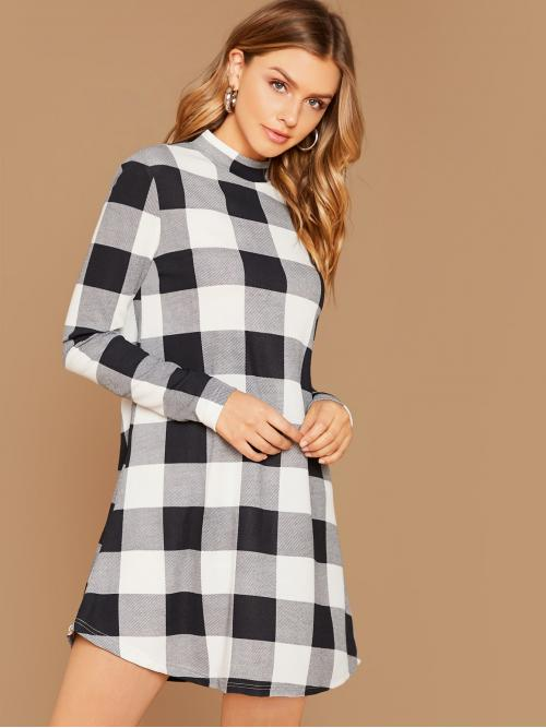 Casual Tee Gingham Straight Loose Stand Collar Long Sleeve Regular Sleeve Natural Black and White Short Length Mock Neck Buffalo Plaid Dress