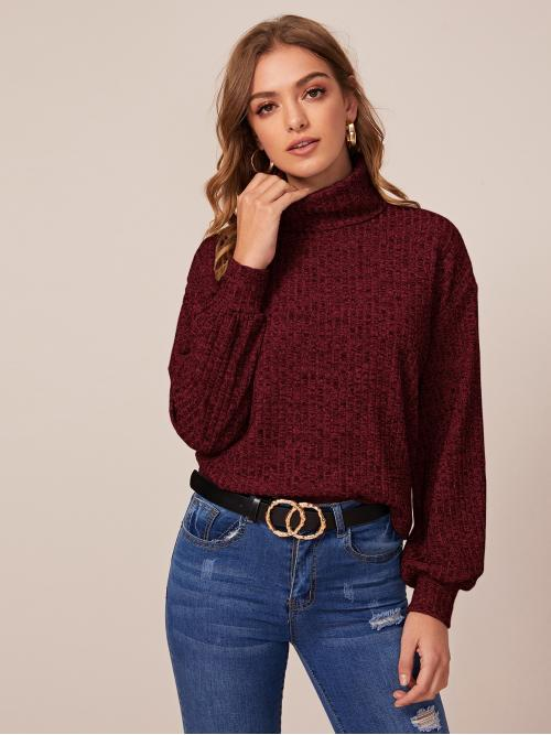 Casual Plain Regular Fit High Neck Long Sleeve Bishop Sleeve Pullovers Burgundy Regular Length Turtleneck Lantern Sleeve Tee