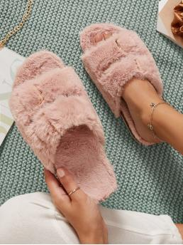 Pink Bedroom Slippers Open Toe Faux Fur Duo Buckles Fuzzy Footbed Slippers on Sale