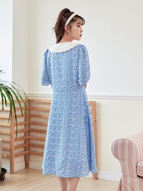 Blue Ditsy Floral Tie Front Peter Pan Collar Ruffle Trim Dress Clearance
