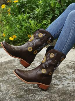 Coffee Brown Pu Leather Rubber Pu Leather Floral Embroidery Chunky Heeled Boots Clearance