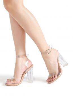Women's Clear Strappy Sandals High Heel Chunky Heeled Sandals
