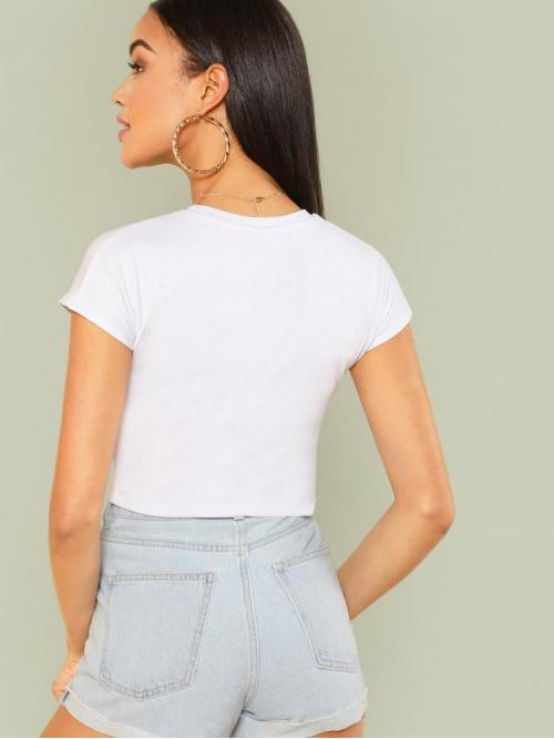 Short Sleeve Top Rib-knit Polyester Solidped Tee on Sale